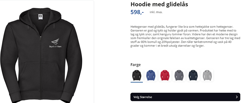 hoodie med glidelås og Skydive Viken logo